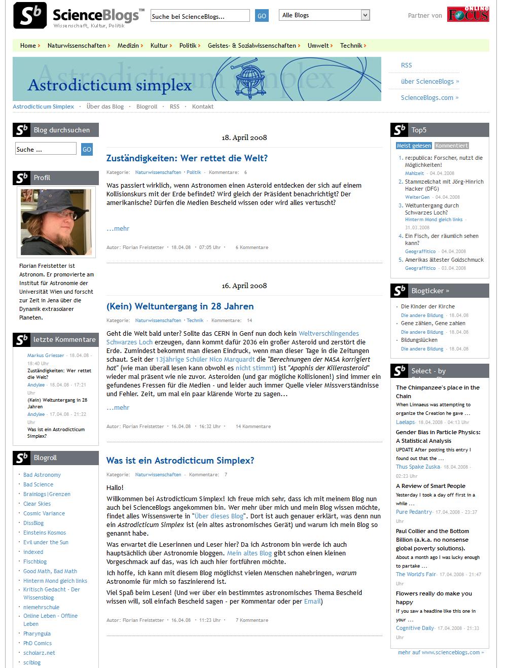 So sah das alles im April 2008 aus (sagt zumindest archive.org - aber waren die ScienceBlogs damal nicht irgendwie gelb??)