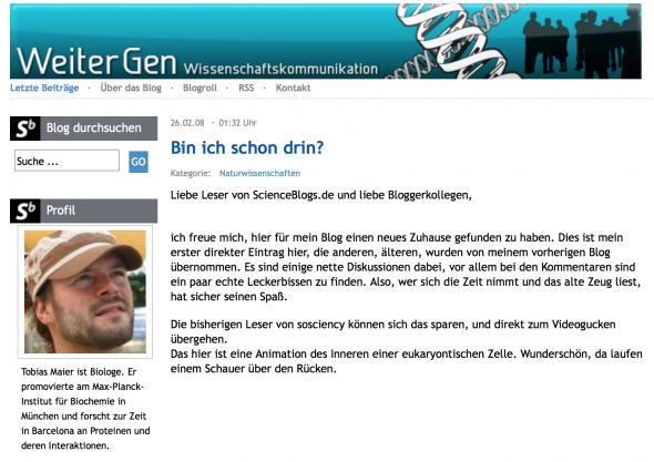 Screenshot vom ersten WeiterGen Post bei den ScienceBlogs