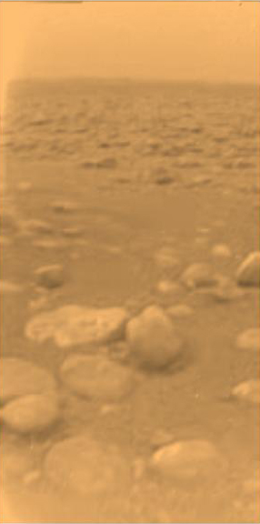 Huygens Landeplatz auf dem Titan (Bild: ESA/NASA/JPL/University of Arizona)