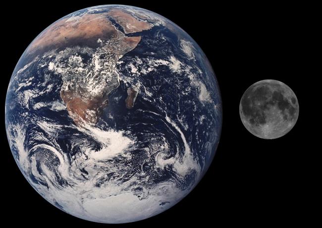 Erde und Mond - so nah sind sie beieinander aber in echt nicht... (Bild: NASA)