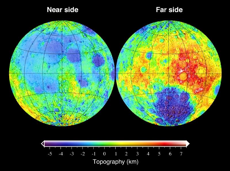 Topografie des Mondes: Links die zugewandte Seite, rechts die abgewandte Seite (Bild: Mark A. Wieczorek,CC-BY-SA 3.0)
