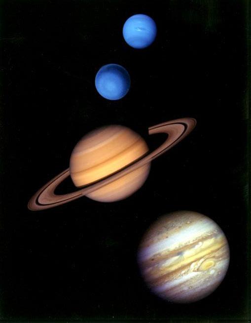 Die Hauptdarsteller im Nizza-Modell (Bild: NASA/JPL)
