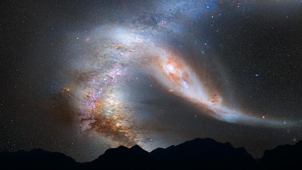Die Kollision zwischen Andromeda und Milchstraße ist in vollem Gang - aber erst in circa 5 Milliarden Jahren  (Künstlerische Darstellung: NASA, ESA, Z. Levay and R. van der Marel (STScI), T. Hallas, and A. Mellinger)