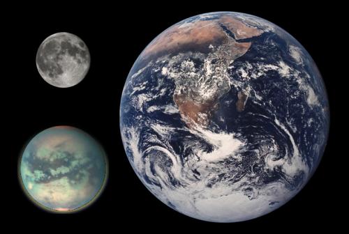 Größenvergleich von Erde, Mond und Titan (Bild: NASA, public domain)