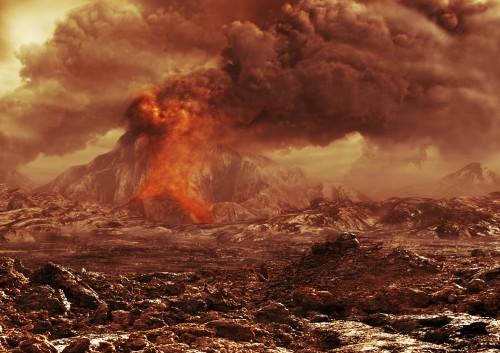 Vulkane auf der Venus? Künstlerische Darstellung: ESA/AOES