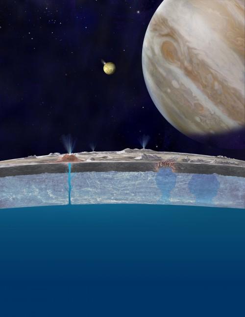 Europas Ozean (Künstlerische Darstellung: NASA/JPL-Caltech)