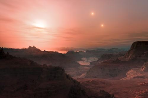 Der Planet Gliese 667Cc  umkreist einen roten Zwergstern, der Teil eines Dreifachsternsystems ist (Künstlerische Darstellung: ESO/L. Calçada)