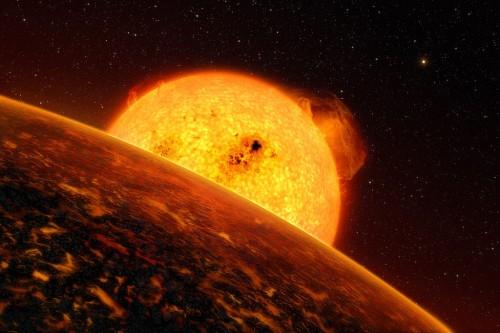Künstlerische Darstellung der 2009 entdeckten Supererde CoRoT-7b (die erste von vielen!)  (Bild: ESO/L. Calcada)