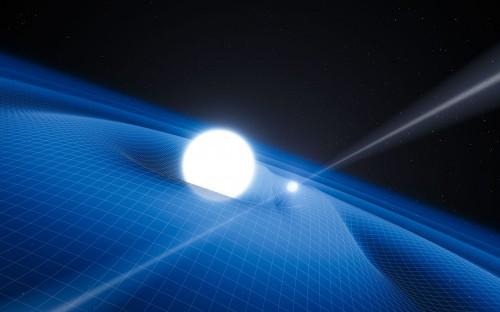 Künstlerische Darstellung von Neutronenstern und weißem Zwerg (ESO/L. Calçada)