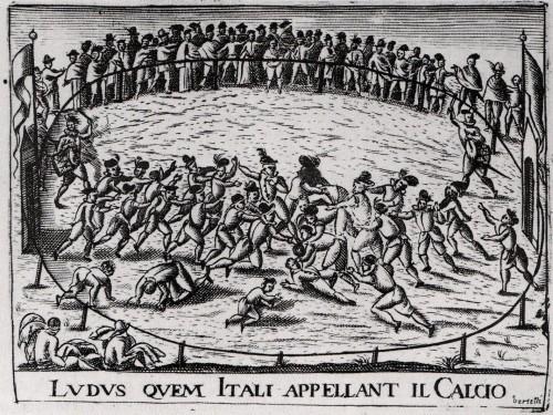Fußballmatch im Florenz des 17. Jahrhunderts. Schaut spaßiger aus als die heutigen Spiele (Bild)