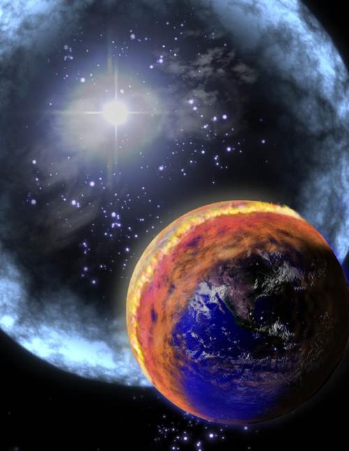 Künstlerische Darstellung eines nahen Gammablitz, dessen Strahlung auf die Erde trifft. In der Atmosphäre entsteht Stickstoffoxid (braun), das die Ozonschicht zerstört (Bild: NASA)