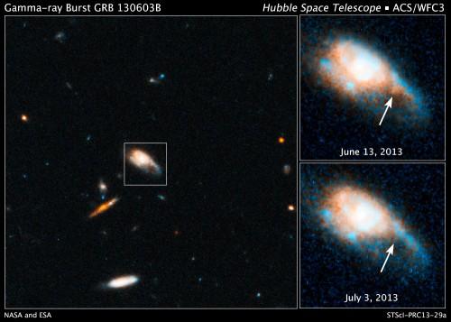 Selbst mit Hubble kaum zu sehen - das Nachglühen des Gammablitz.