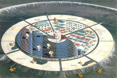 So stellte man sich 1982 eine automatisierte Roboterfabrik auf dem Mond vor, die sich selbst erweitern kann (Bild: NASA)