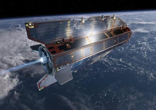 """GOCE wird wegen seiner Form auf """"der Ferrari unter den Satelliten"""" genannt. Er ist tatsächlich stromlinienförmig gebaut um der Restatmosphäre weniger Widerstand entgegen zu setzen (Bild: ESA /AOES Medialab)"""