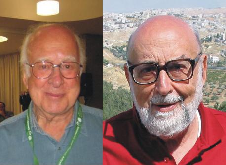 Peter Higgs (links) und Francois Englert (rechts) (Bild: Mathematisches Institut Oberwolfach (MFO), CC-BY-SA 2.0 bzw. Englert, CC-BY-SA 3.0)
