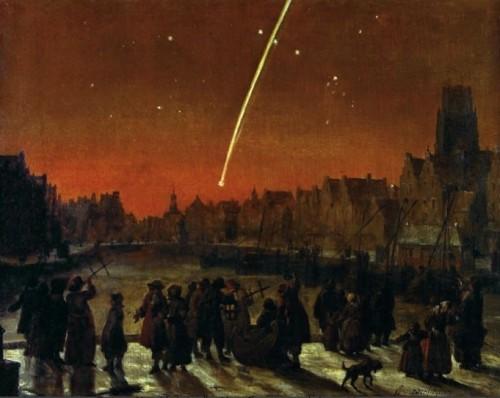 Der Große Komet von 1680 über Rotterdam auf einem Bild von Lieve Verschuier. Mit etwas Glück wird ISON genau so spektakulär.