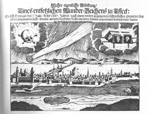 """""""Wahre_und_eigentliche_Abbildung_eines_Entsetzlichen_Wunderzeichens"""" (Abbildung aus dem Jahr 1687, aus Wilhelm Hess, Himmels- und Natureerscheinungen, 1911, gemeinfrei)"""