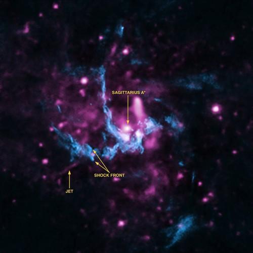 Bild: X-ray: NASA/CXC/UCLA/Z.Li et al; Radio: NRAO/VLA)