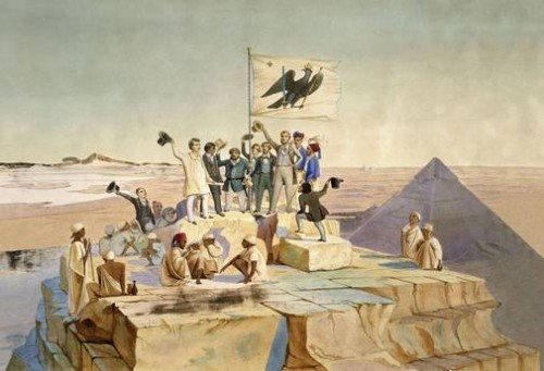 Die preußische Expedition nach Ägypten unter Richard Lepsius am 15. Oktober 1842 auf der Cheops-Pyramide. Aber selbst von dort oben kann man Circinus X-1 nicht sehen...