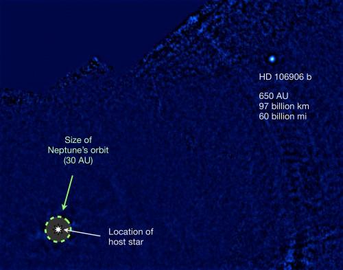 Bild des Planeten HD 106906b (rechts oben). Der Stern ist links unten im Bild markiert (sein Licht aber ausgeblendet). Bild: Vanessa Bailey