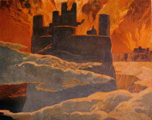Der Feuerriese Surt hat die Welt angezündet; Ragnarök ist bald vorüber (Bild: Emil Doepler, 1905, public domain)