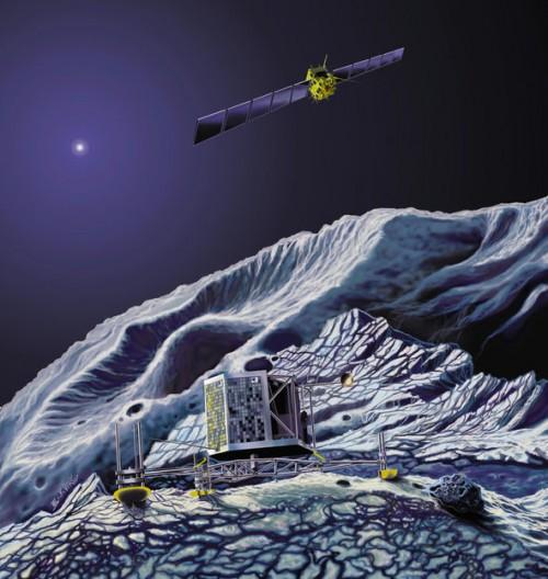Rosetta umkreist den Kometen und Philae landet (Bild: Astrium - E. Viktor)
