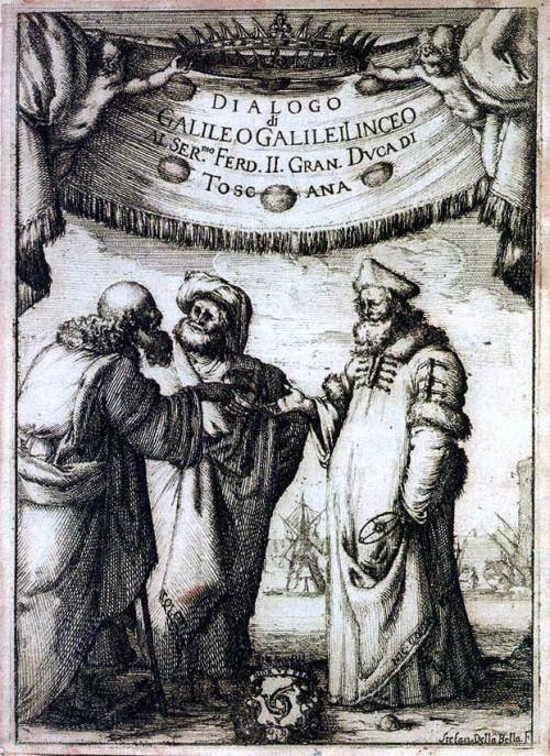 Aristoteles, Ptolemäus und Kopernikus diskutieren auf dem Titelblatt von Galileis berühmten Buch.