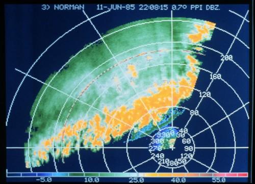 Sturmfront auf dem Radarschirm (Bild: NOAA, public domain)