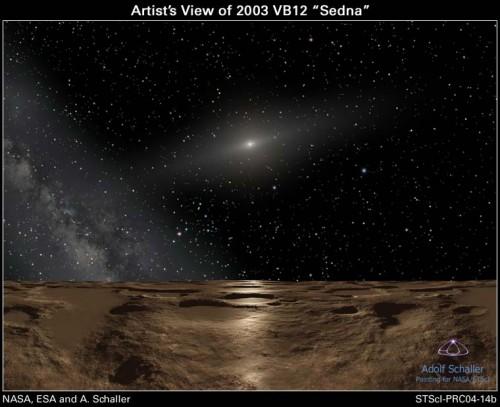 Künstlerische Darstellung: Die Sonne, gesehen von der weit entfernten Oberfläche Sednas