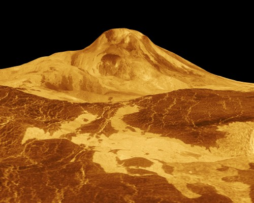 Rekonstruiertes Radardbild von Maat Mons, einem der Vulkane auf der Venus (Bild: NASA/JPL)