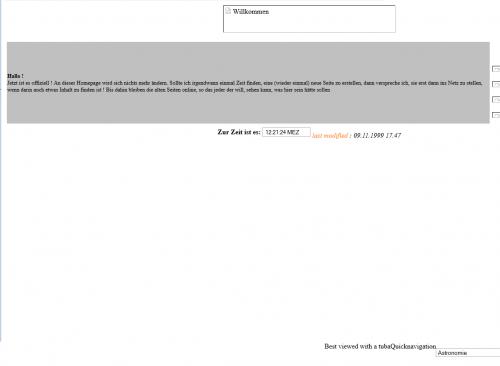 Meine Uni-Homepage aus dem Jahr 1999 muss ob ihrer Genialität auf jeden Fall archiviert werden!!