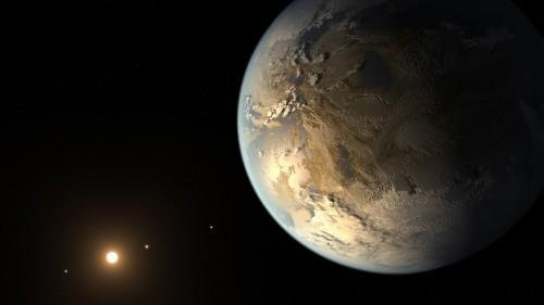 Kepler-186f auf dem Pressebild der NASA. Ob der Planet so aussieht, weiß keiner (Künstlerische Darstellung: NASA Ames/SETI Institute/JPL-Caltech)