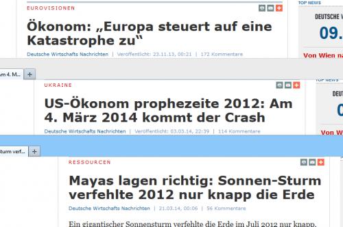 Internet-Nachrichten: nur komplett mit Katastrophe!