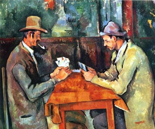 Freizeit sollte man sich als Wissenschaftler gar nicht erst angewöhnen! (Bild: Paul Cézanne, Les joueurs de carte, public domain)