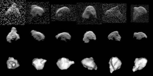 Radarbilder (oben) und daraus rekonstruierte Computermodelle seiner Form (unten) des Asteroids 1999 JM8 - in der Mitte sieht man, wie das Radarecho der simulierten Formen aussehen sollte (Bild: NASA)