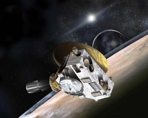 Künstlerische Darstellung von New Horizons bei Pluto und Charon (Bild: Johns Hopkins University Applied Physics Laboratory/Southwest Research Institute (JHUAPL/SwRI))