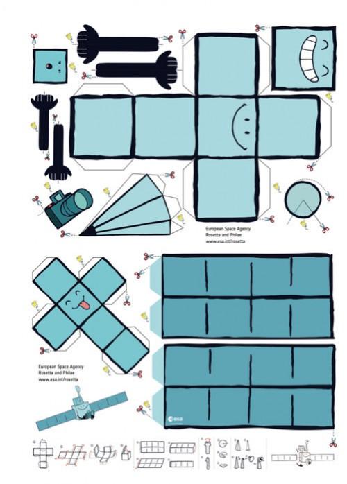 Eine Raumsonde zu bauen ist viel Arbeit und nicht immer so einfach wie bei diesem Papiermodell (Bild: ESA/Design & Data)