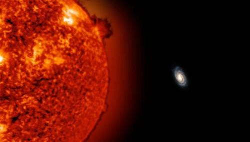 So würde die Milchstraße vom 900.000 Lichtjahre entfernten roten Riesen aussehen (Bild: Uniview by SCISS Data: SOHO (ESA & NASA), John Bochanski (Haverford College) and Jackie Faherty (American Museum of Natural History and Carnegie Institute's Department of Terrestrial Magnetism)