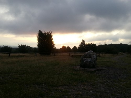 Bei Sonnenaufgang am Wilseder Berg in der Heide....