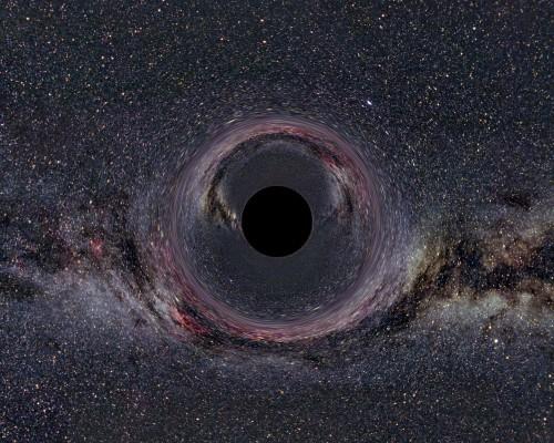 """Simuliertes """"Bild"""" eines schwarzen Lochs (Bild: Ute Kraus, Axel Mellinger, CC-BY-SA 2.0)"""