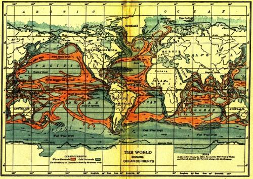 Meeresströmungen werden schon lange erforscht (Bild: Physiography for High Schools, 1911)