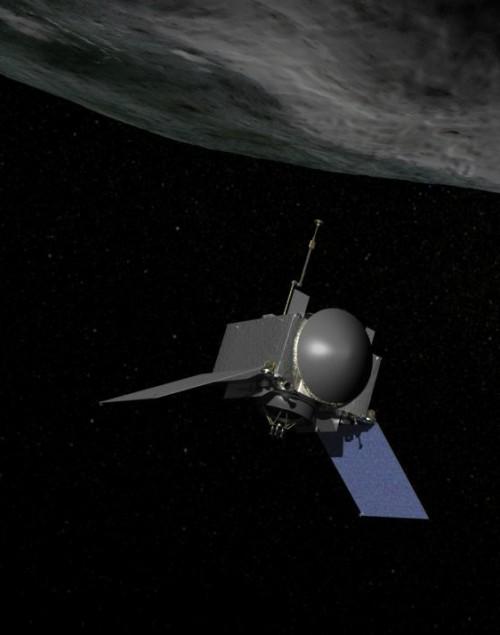 OSIRIS-REx fliegt zu Bennu (Künstlerische Darstellung: NASA/Goddard)
