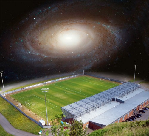 Dumbarton FC football ground CC-BY-SA 2.0 by John Ferguson Messier 81 Galaxie PD HST image by NASA/ESA
