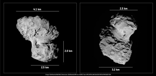 Bild: ESA/Rosetta/NAVCAM; Dimensions: ESA/Rosetta/MPS for OSIRIS Team MPS/UPD/LAM/IAA/SSO/INTA/UPM/DASP/IDA)