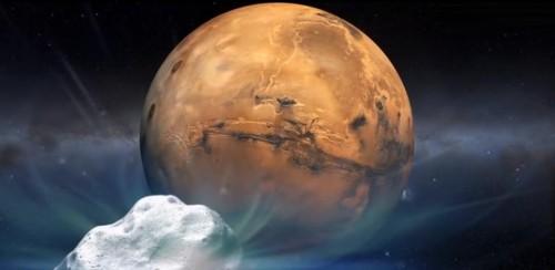 Künstlerische Darstellung der Begegnung zwischen Mars und Komet (Bild: NASA)