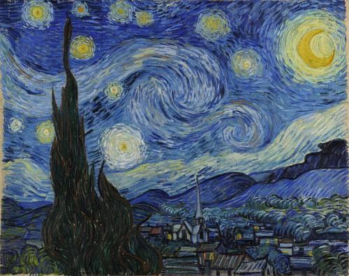 Selbst die fetten Van-Gogh-Sterne machen die Nacht nicht hell! Bild: Public Domain