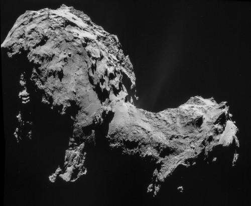 Rosettas Komet ist nur knapp 4 Kilometer lang und sehr unregelmäßig geformt (Bild: ESA/Rosetta/NAVCAM)