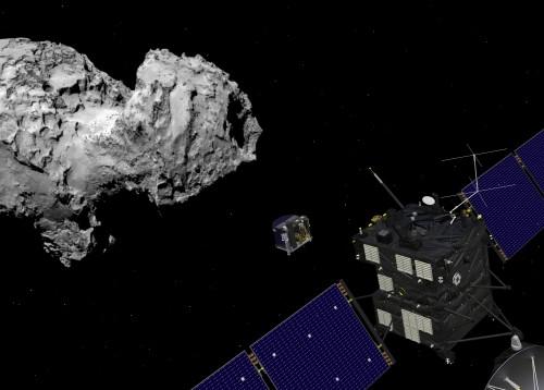 Im Bild nur eine Montage, aber bald Realität: Die Landung auf einem Kometen! (Bild: Spacecraft: ESA–J. Huart, 2014; Comet image: ESA/Rosetta/MPS for OSIRIS Team MPS/UPD/LAM/IAA/SSO/INTA/UPM/DASP/IDA)
