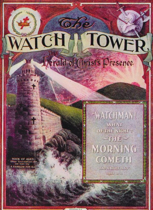 Hinter den Zeugen steht der Wachtturm (Bild: Public Domain)