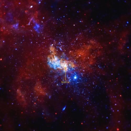 Das zentrale schwarze Loch (SgrA*) der Milchstraße und seine Umgebung im Röntgenlicht - unterschiedliche Farben entsprechen Röntgenstrahlung unterschiedlicher Energie (Bild: NASA/CXC/Univ. of Wisconsin/Y.Bai. et al.)